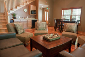 Living room-meeting area at one of the lodges